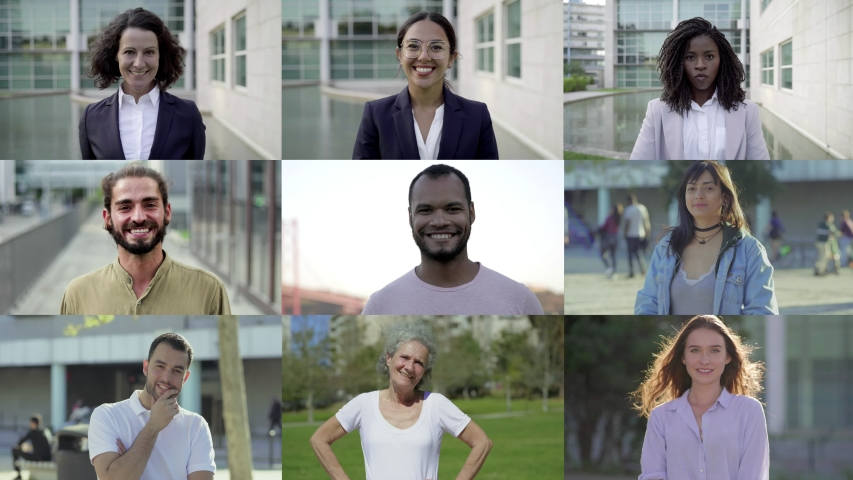 Happy smiling employees looking at camera. Multiscreen montage, split screen collage. Ethnicity variation concept | Shutterstock HD Video #1035659912