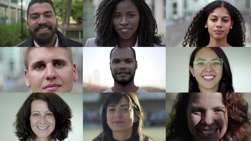 Faces of smiling multiethnic people looking at camera. Multiscreen montage, split screen collage. Ethnicity variation concept