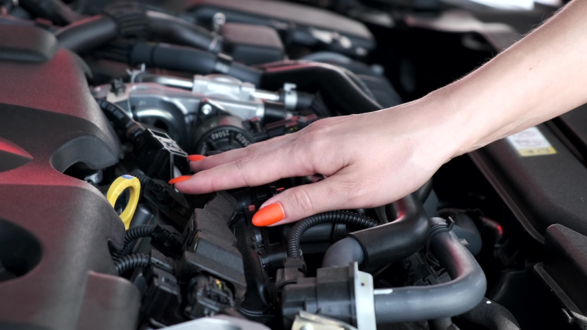 female salesperson showing the engine to potential clients at the car dealership #1035686999