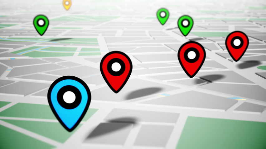 Geotargeting and GPS. Pin Navigation Localization Icons Appear on the Map. LOOP.	  #1035701267