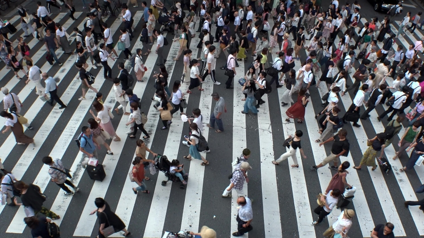UMEDA, OSAKA, JAPAN - CIRCA JULY 2019 : Aerial view of zebra crossing near Osaka train station. Crowd of people at the street. Shot in busy rush hour. #1035705179
