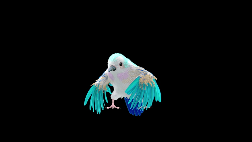 Bird fly fur 3d rendering animal realistic CGI VFX Animation Loop Crowd dance composition 3d mapping cartoon Motion Background,with Alpha matte