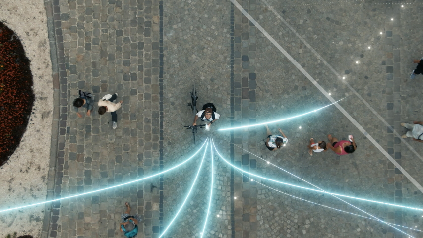 Visualization of Information Global Network. Technology Connecting Lines Flows into Digital Communication Space Flying from Mobile Phone. Young Man Uses Smartphone in the Big City. Aerial Drone Shot | Shutterstock HD Video #1035728363