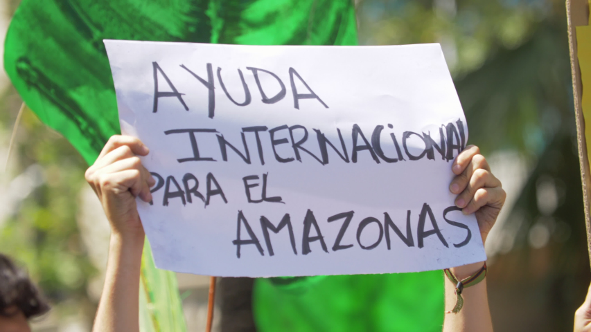 International Help for the Amazon Poster in Spanish language in a Demonstration | Shutterstock HD Video #1035732803