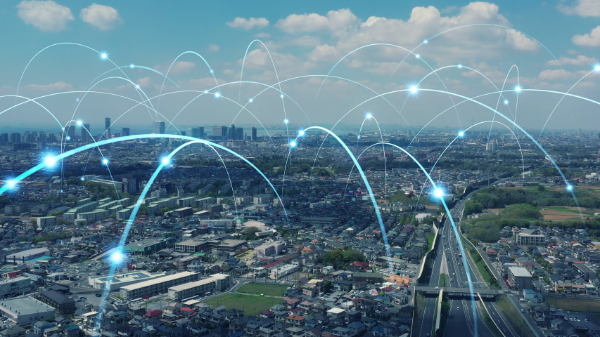 Smart city and communication network concept. Royalty-Free Stock Footage #1035737735