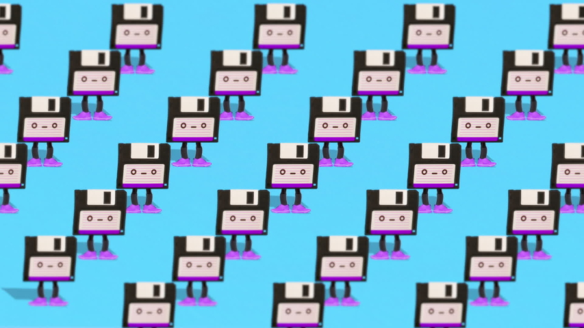 Fashion animation art. Dancing floppy disk. Effect retro old TV | Shutterstock HD Video #1035740003