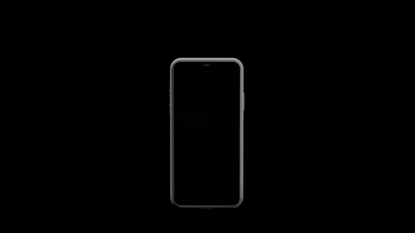 Chernivtsi, Ukraine - July 11, 2019: iPhone 11 Silver spinning isolated, on black background. Editorial Animation.