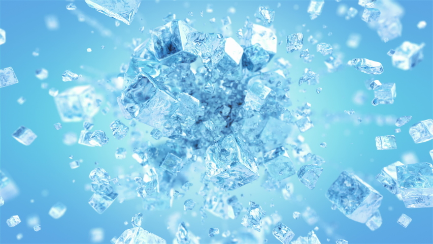 Exploding frosted ice cube in 4K | Shutterstock HD Video #1035750788