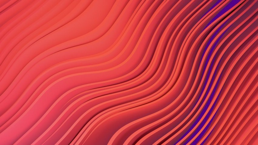 3D animation of orange stripes on purple background waving and swaying.  Future geometric patterns motion background. Rendering in 4K