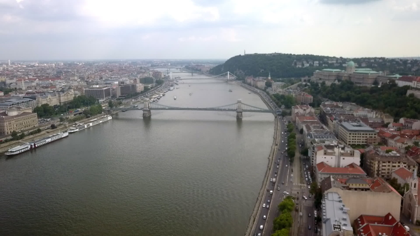 Drone flying over Budapest and the Danube River | Shutterstock HD Video #1035772724