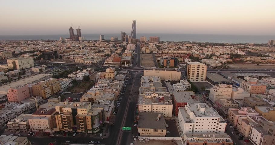 Jeddah aerial footage in Saudi arabia  | Shutterstock HD Video #1035785522