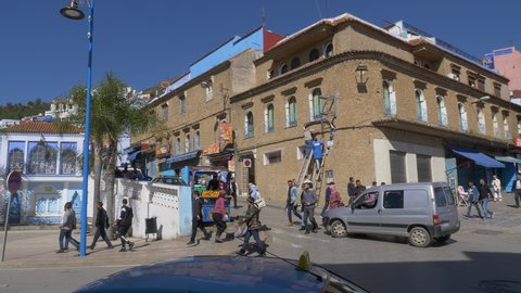 Chefchaouen, Morocco: March 03, 2019 : Blue town Chefchaouen Chaouen / Morocco, Narrow Street of Chefchaouen, famous blue village of Morocco.