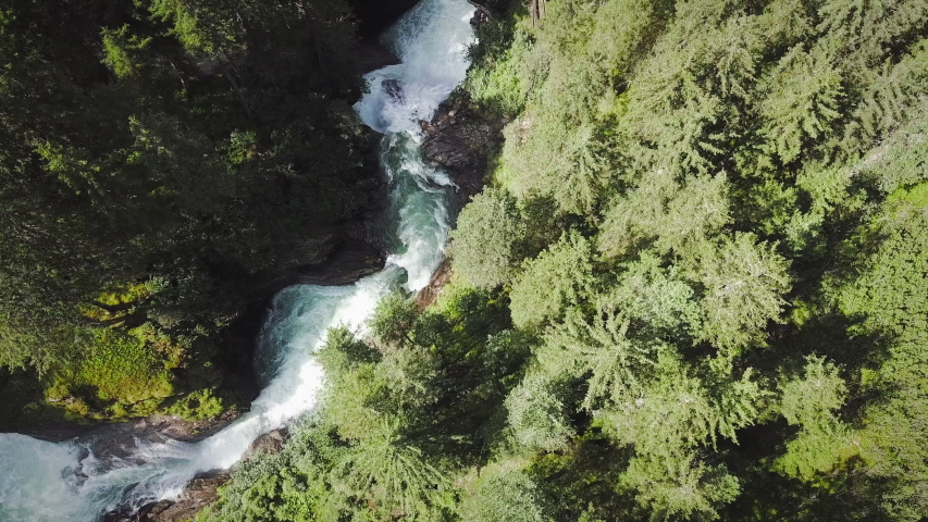 Top View at the Krimml Waterfall Cascades. Drone Flight Above the Flow | Shutterstock HD Video #1035797975