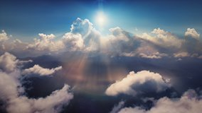 Flying through heavenly beautiful sunny cloudscape. Amazing timelapse of golden fluffy clouds moving softly on the sky and the sun shining above the clouds with beautiful rays and lens flare.