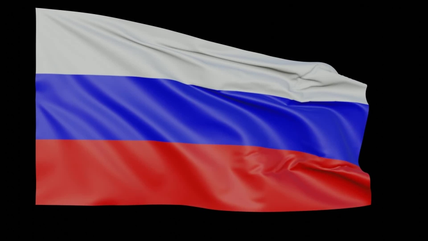 Blank plain Russia flag  waving in the wind, surrender flag 3D animation  loop with alpha channel