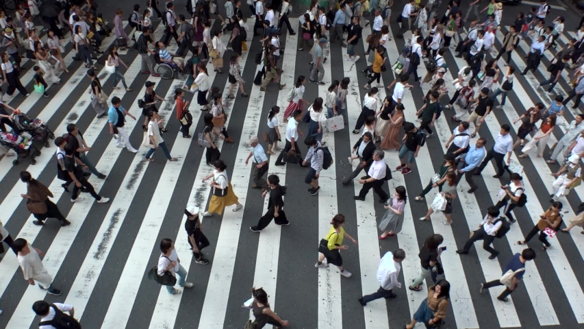 UMEDA, OSAKA, JAPAN - CIRCA JULY 2019 : Aerial view of zebra crossing near Osaka train station. Crowd of people at the street. Shot in busy rush hour. Slow motion. #1035822980