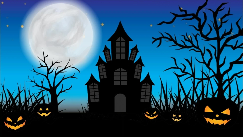 Halloween animation scary night of halloween. Looping halloween animation with grass and trees moving right and left, flying bats, scary pumpkin, haunted castle, shining stars, moon, and flying ghosts