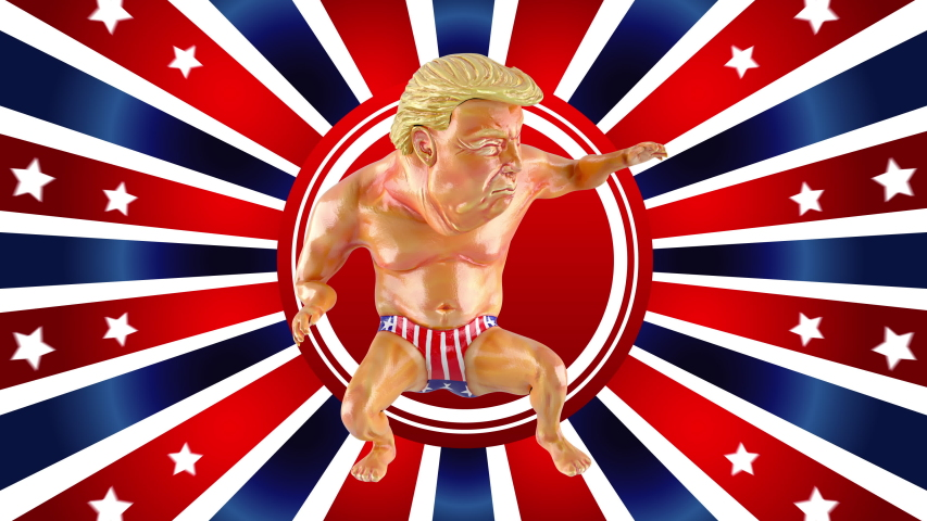 Isolated Adult in a Red and Blue Environment Moves in Rhythm of the 80s or 90s Year. One Wealthy Model Posing with Wow Emotions Expression. Animated Action Man Looping in Colorful Studio in 4k