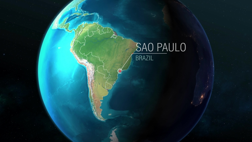 Brazil - Sao Paulo  - Zooming from space to earth Royalty-Free Stock Footage #1035831626