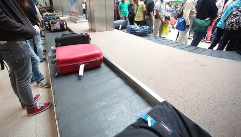 Sri Lanka, Colombo , March 2014. video editorial Passengers receive baggage at the airport. tourists suitcase