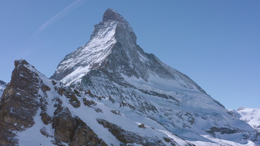 Fly Over Majestic Mountain Peaks Golden Hour Matterhorn Mountaineering Existential Thoughts Nature 4k Slow Motion | Shutterstock HD Video #1035858272
