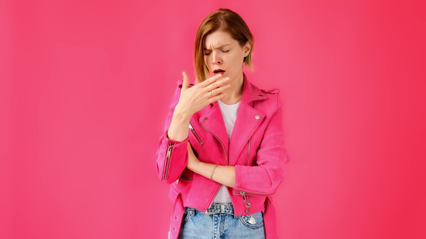 The woman is yawning, tired and wants to sleep. Boring | Shutterstock HD Video #1035866990