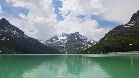 Timelapse of Silvretta Stausee lake on Silvretta-Bielerhohe High Alpine Road in Vorarlberg, Austria.