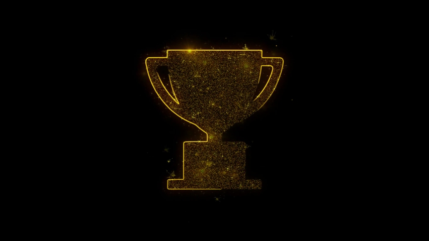 Trophy Win Cup Icon Sparks Glitter Particles on Black Background. Shape, Design, Text, Element, Symbol Alpha Channel 4K Loop. | Shutterstock HD Video #1035875834
