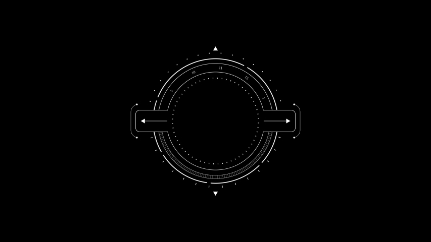 PNG Alpha.Target circle HUD animation. logo template.Use as 2D infographic with circle objects like camera lenses, tune buttons for technological futuristic look.Type 2 | Shutterstock HD Video #1035887552
