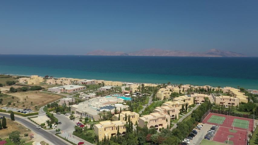 Horizonbeach resort Greece - Kos with Drone view to the sea as opening shot. Family hotel in Mastichari. Drone shot from July 2019 in 4K 30frames with ND/PL filter.