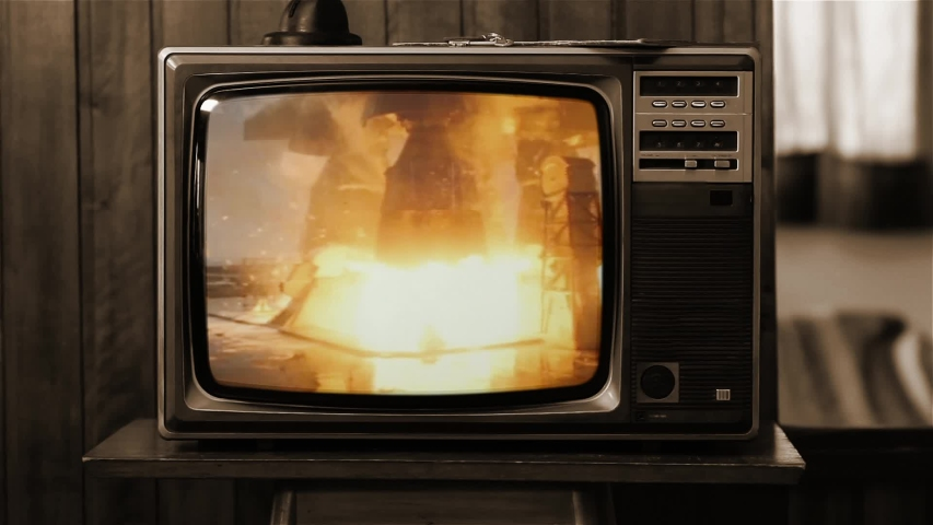Apollo 11 Rocket Launch Color Film as Seen On a Vintage TV Set. Pad Camera 5 (ground level). Sepia Tone. Elements of this Image Furnished by NASA.
