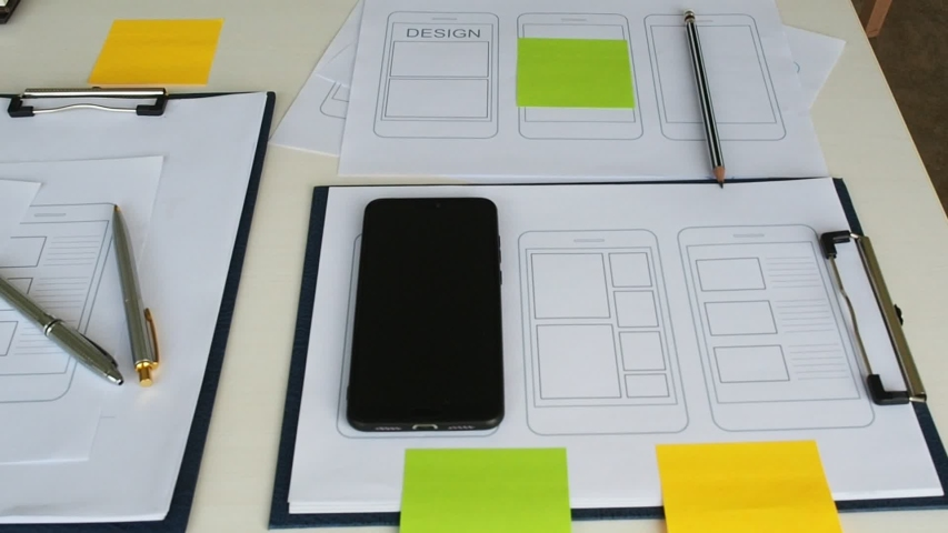 UX or UI design application development for web smart phone . UI or UX design concept. Royalty-Free Stock Footage #1035924158
