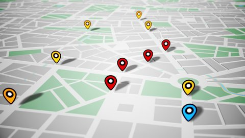 Pin Navigation Localization Icons Appear on the Map. Geotargeting and GPS. LOOP.