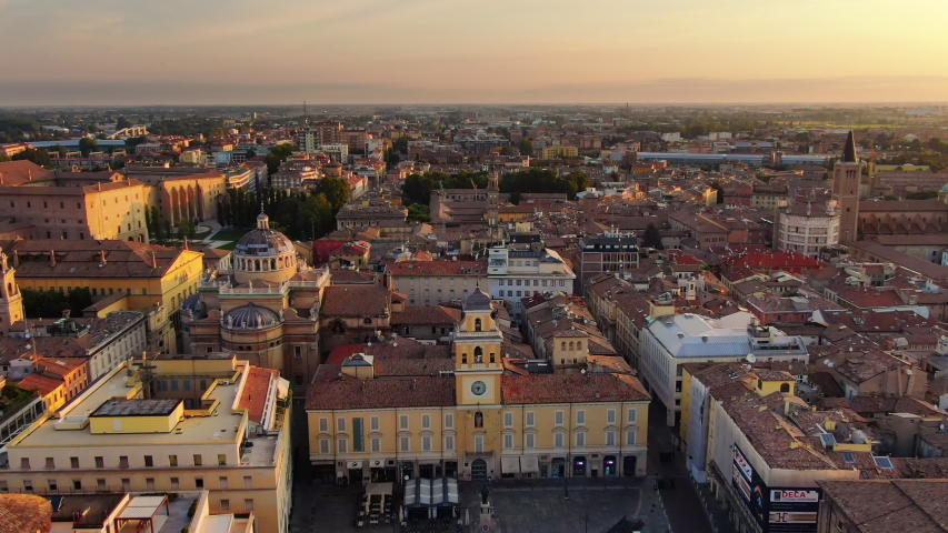 Parma city centre garibaldi square aerial view | Shutterstock HD Video #1035947375