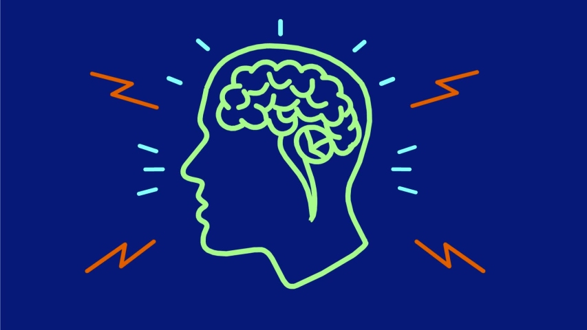 2d Animation motion graphics showing neon sign light signage lighting of a human head with brain activity on blue screen in HD high definition done retro style. | Shutterstock HD Video #1035954146