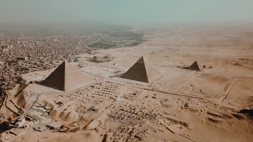 Giza/Egypt  03/16/2019          Aerial video of Egyptian pyramids site on Giza in Egypt