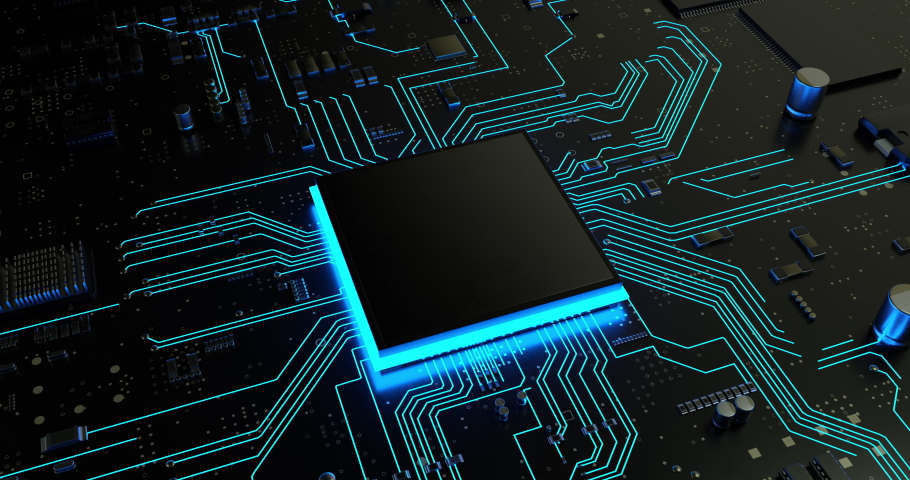 Macro shot of central computer processor CPU blank microchip for copy space. Royalty-Free Stock Footage #1035969560
