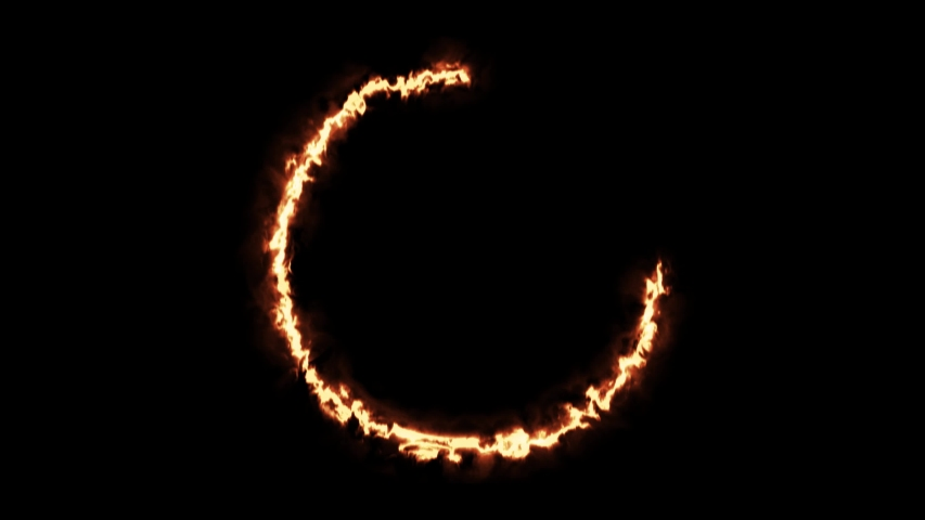 Beautiful ring of fire on black background. Abstract solar fire circle.  Gradually appearing burning ring of fire. Motion graphics 4k