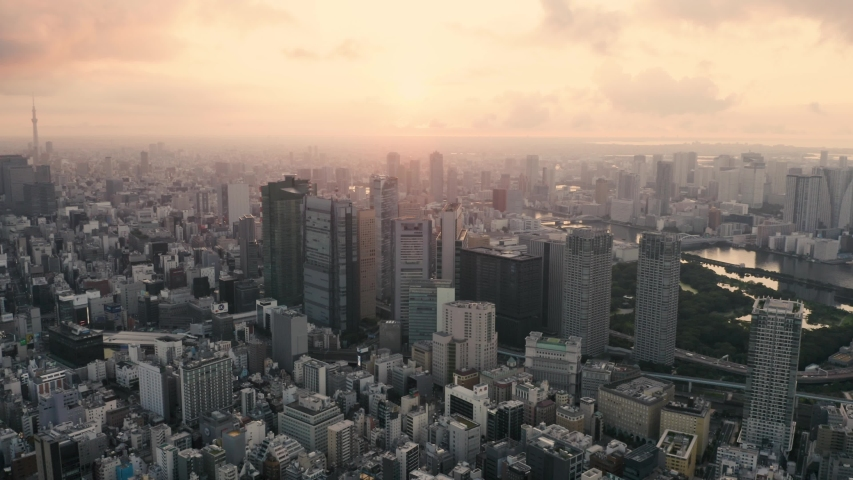 Tokyo skyline at sunrise, Japan - 4k Aerial drone footage | Shutterstock HD Video #1035987854