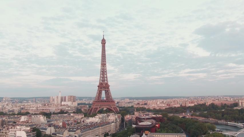 Eiffel Tower in Paris, France while sunrise | Shutterstock HD Video #1036003562