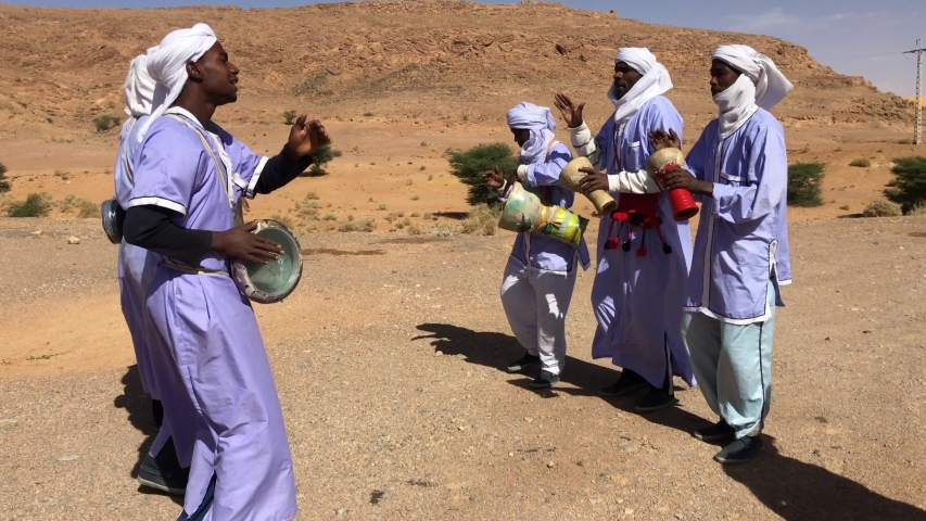 Taghit, Bechar, Algeria - November 03, 2017: Live music with ethnic percussions by Tuareg musicians.