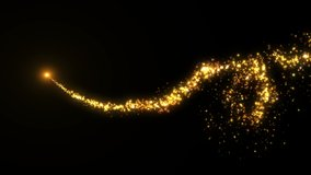4K Flight of gold bokeh particles. Magical shimmering light. Merry Christmas golden intro template.
