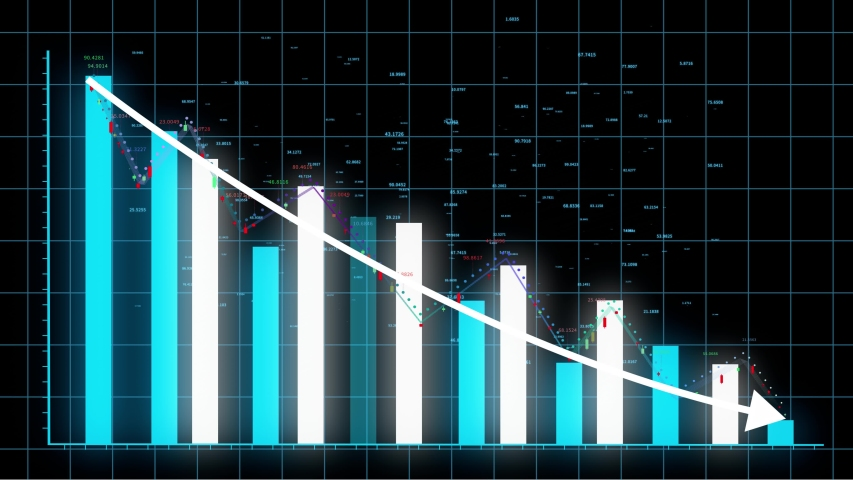 4k HUD graph,Bar graph fall down with arrow,Financial data and diagrams showing a decline in profits,charts and flowing counters of numbers,Business digital trend.  #1036020938