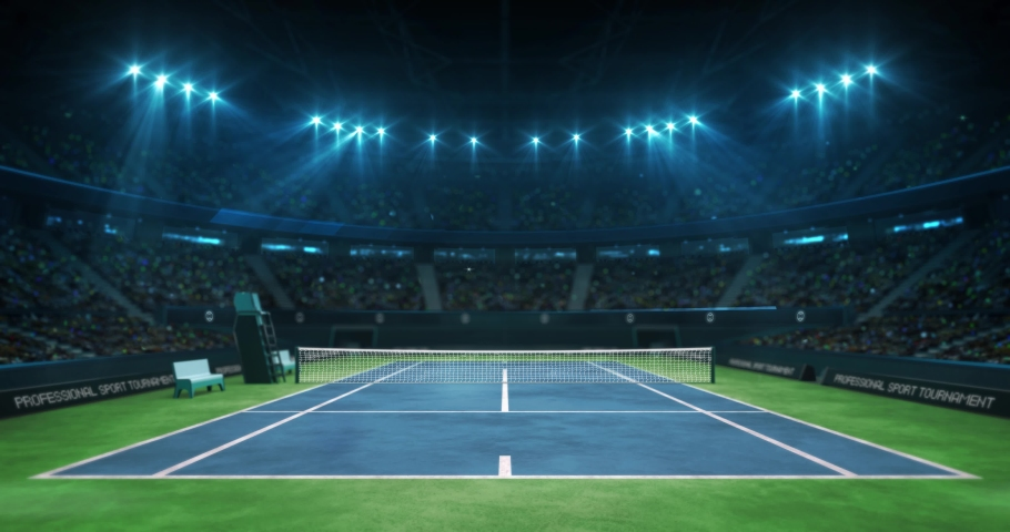 Lighting the tennis blue court before the game in the hall full of spectators, professional tennis sport 4k animation loop background | Shutterstock HD Video #1036037075
