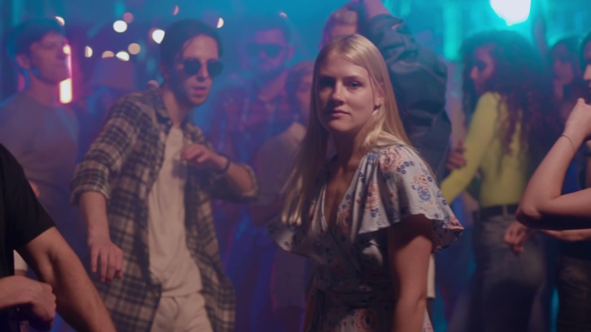 Young friends hanging out dancing together enjoying party music at night having fun celebrating weekend connection cheerful friendship gathering nightlife entertainment slow motion | Shutterstock HD Video #1036041269