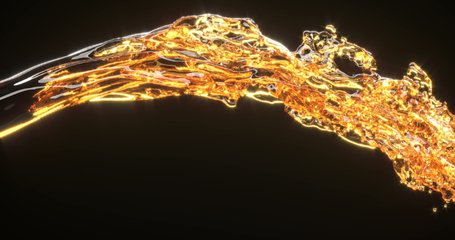 Golden liquid stream 3d realistic footage. Spilling orange fluid isolated on black background. Oil splatters, honey, whiskey splashes close up. Beer pouring, dynamic flow abstract video