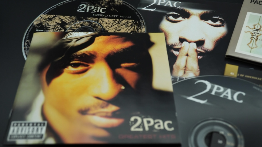 Rome, August 16, 2019: Covers of CDs by Tupac Shakur. also known as 2Pac and Makaveli. one of the best and most influential rappers of all time, despite his death at the age of twenty-five in 1996