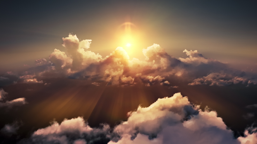 Flying through heavenly beautiful sunny cloudscape. Amazing timelapse of golden fluffy clouds moving softly on the sky and the sun shining through the clouds with beautiful rays and lens flare. #1036084157