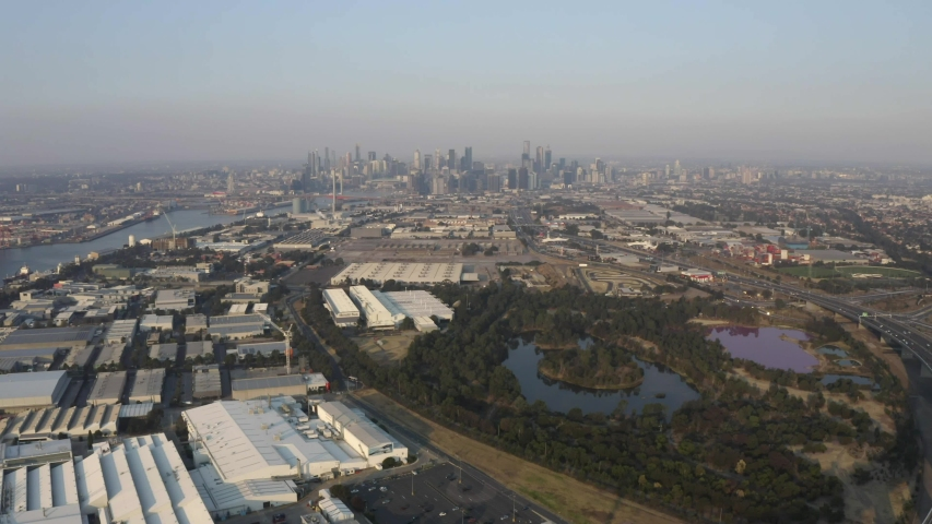 Aerial view of Salt Water Lake (Pink Lake) with Melbourne city in the distance.