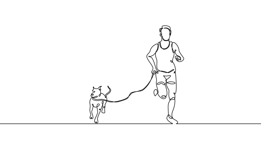 Self drawing simple animation of single continuous one line drawing dog, man, person, pet, active, male, people, animal, run . Drawing by hand, black lines on a white background.